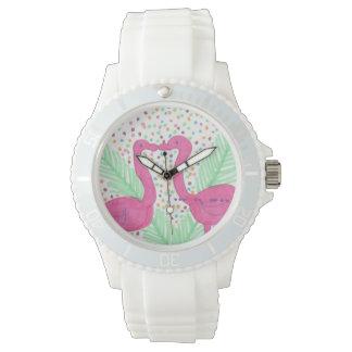Flamingo Fun Print Wrist Watch
