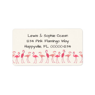 Flamingo Gathering Beach Residence Address Label
