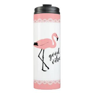 Flamingo Good Vibes Pink Black Thermal Tumbler