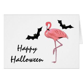 Flamingo Halloween Bats Card