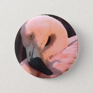 flamingo head 6 cm round badge