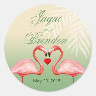 Flamingo Heart Kiss Wedding Favor | jade Round Sticker