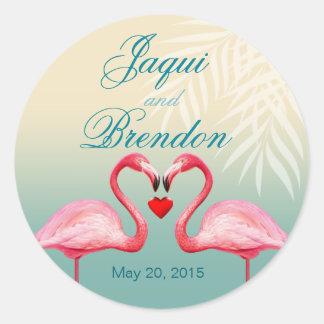 Flamingo Heart Kiss Wedding Favor | mint blue Round Sticker