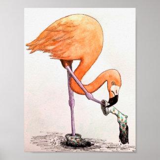 Flamingo In Knee Socks Poster