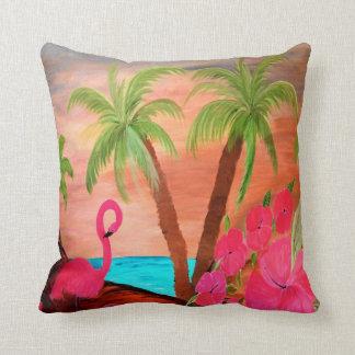 Flamingo in paradise tropical throw pillow