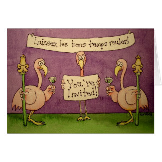 Flamingo Line Invite Invitation Card Mardi Gras