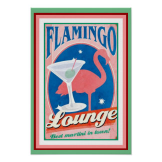Flamingo Lounge Poster 13 x 19