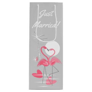 Flamingo Love Just Married! gift bag wine