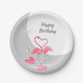 Flamingo Love Large Moon Birthday paper plates
