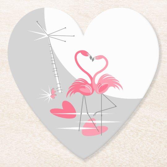 Flamingo Love Large Moon coaster heart