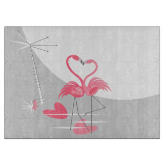 Flamingo Love Large Moon cutting board