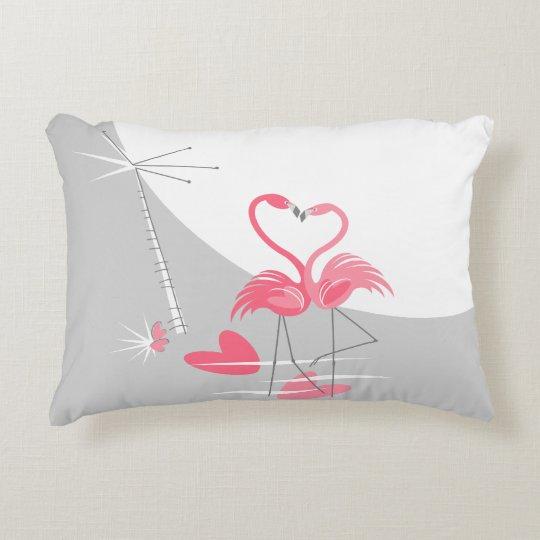 Flamingo Love Large Moon grey back accent Decorative Cushion