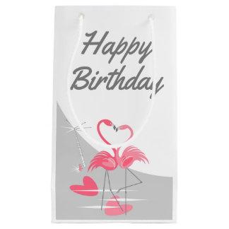 Flamingo Love Large Moon Happy Birthday small Small Gift Bag