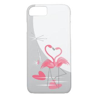 Flamingo Love Large Moon iPhone 7 case vertical