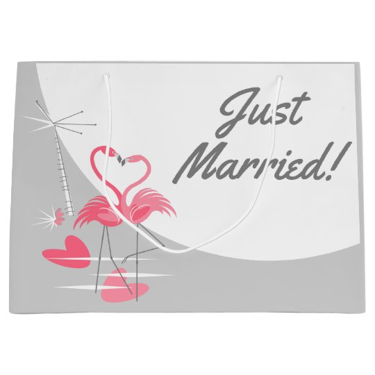 Flamingo Love Large Moon Just Married! large Large Gift Bag