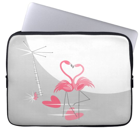 "Flamingo Love Large Moon laptop sleeve 13"""