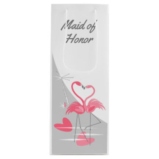Flamingo Love Large Moon Maid of Honor wine Wine Gift Bag