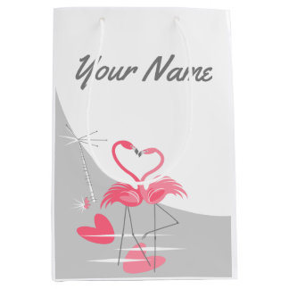 Flamingo Love Large Moon Name medium Medium Gift Bag