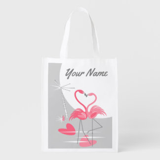 Flamingo Love Large Moon Name reusable bag