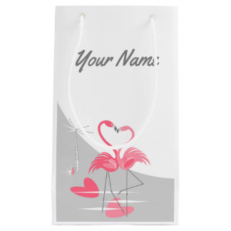 Flamingo Love Large Moon Name small Small Gift Bag