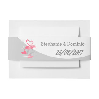 Flamingo Love Large Moon Names Date landscape Invitation Belly Band