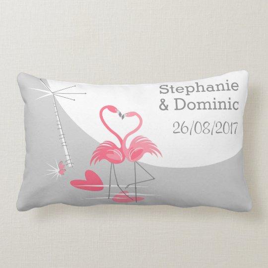 Flamingo Love Large Moon Names Date lumbar pillow