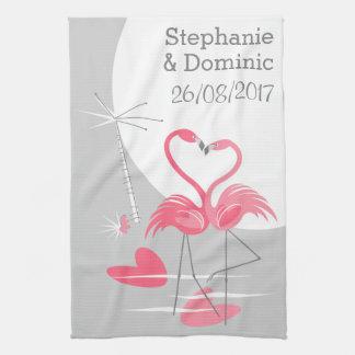Flamingo Love Large Moon Names Date vertical Tea Towel