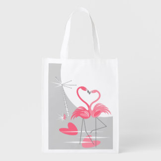 Flamingo Love Large Moon reusable bag