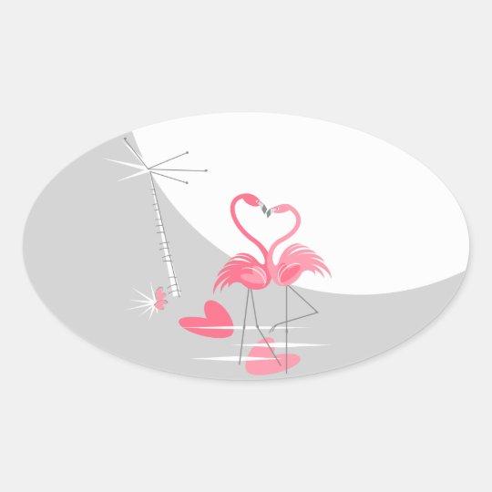 Flamingo Love Large Moon sticker oval