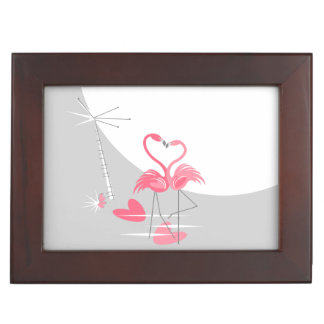 Flamingo Love Large Moon Text keepsake box