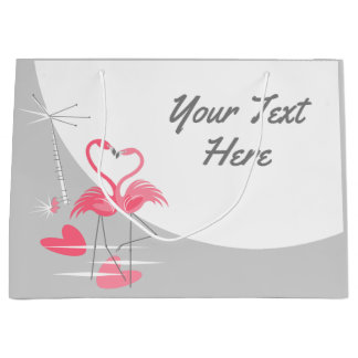 Flamingo Love Large Moon Text large Large Gift Bag