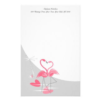 Flamingo Love Large Moon Text stationery