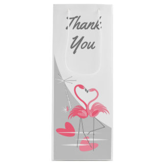 Flamingo Love Large Moon Thank You wine Wine Gift Bag