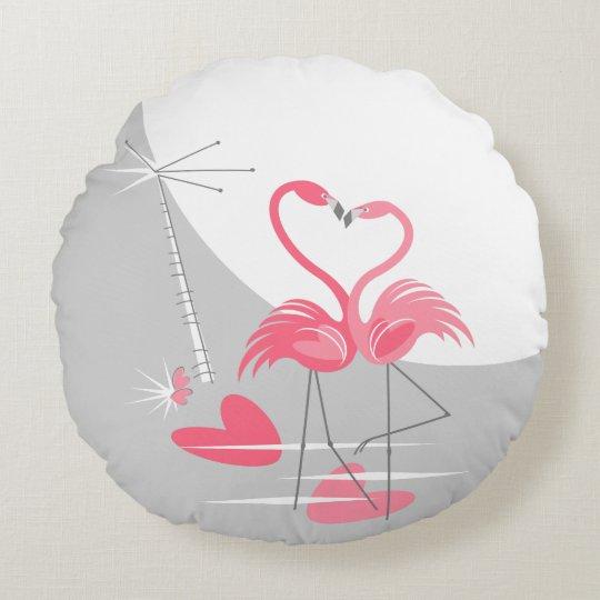Flamingo Love Large Moon throw pillow round
