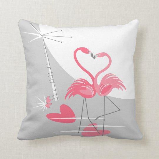 Flamingo Love Large Moon throw pillow square