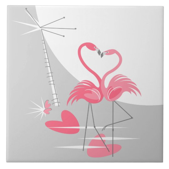 Flamingo Love Large Moon tile