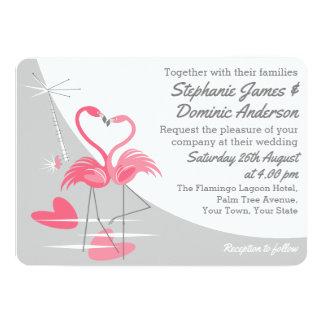 Flamingo Love Large Moon wedding landscape Card
