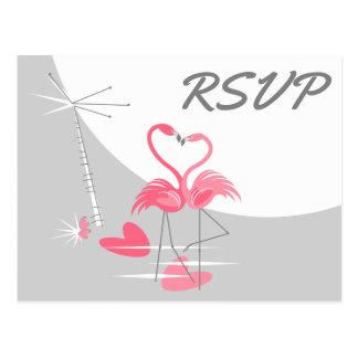 Flamingo Love Large Moon wedding RSVP landscape Postcard