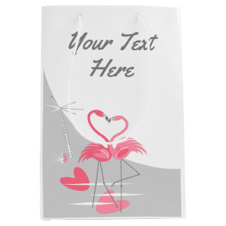 Flamingo Love Large Moon Your Text medium Medium Gift Bag