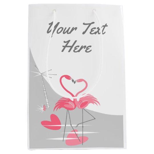 Flamingo Love Large Moon Your Text medium Medium Gift Bag