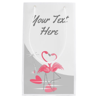 Flamingo Love Large Moon Your Text small Small Gift Bag