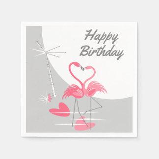 Flamingo Love Moon Birthday paper napkins