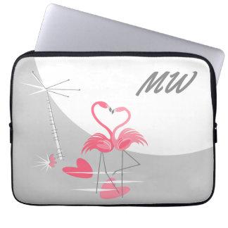 """Flamingo Love Moon Monogram laptop sleeve 13"""""""