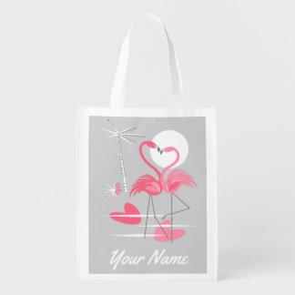 Flamingo Love Name reusable bag