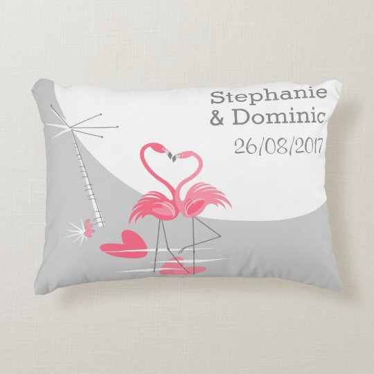 Flamingo Love Names Date throw pillow accent