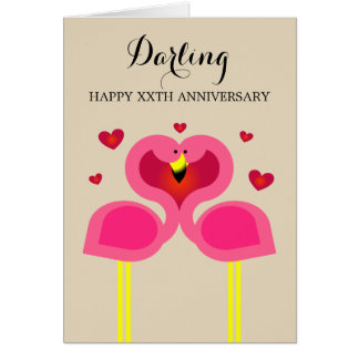 Flamingo Love Personalised Anniversary Card