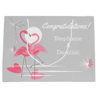 Flamingo Love Side Congratulations Names large Large Gift Bag