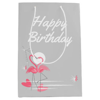 Flamingo Love Side Happy Birthday medium Medium Gift Bag