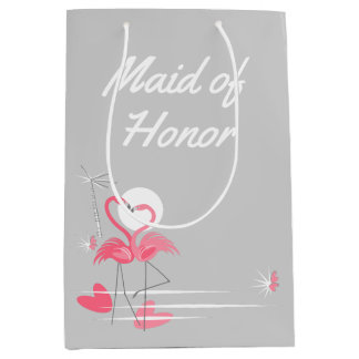Flamingo Love Side Maid of Honor medium Medium Gift Bag