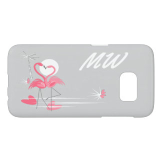 Flamingo Love Side Monogram Samsung Galaxy S7